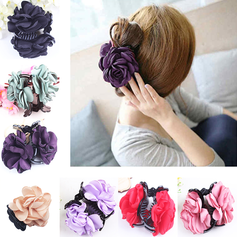 Fashion-Womens-Chiffon-Rose-Flower-Bow-Jaw-Clip-Barrette-Hair-Claw-Gift-Awesome thumbnail 2