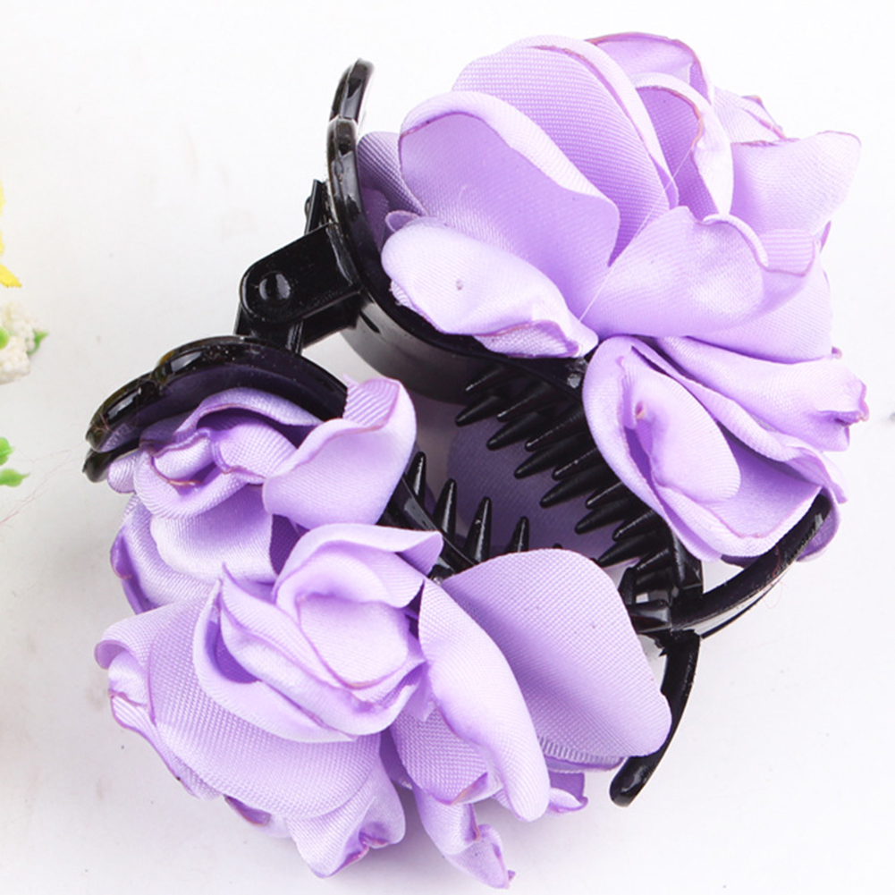 Fashion-Womens-Chiffon-Rose-Flower-Bow-Jaw-Clip-Barrette-Hair-Claw-Gift-Awesome thumbnail 4