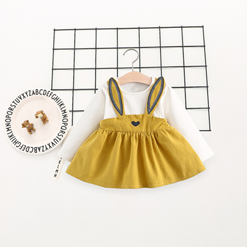 Fashion Baby Girl Cute Rabbit Ear Long Sleeve Suspender Ski